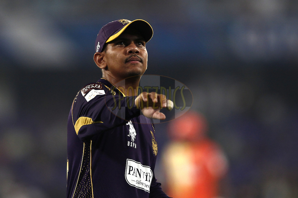 Sunil Narine of the Kolkata Knight Riders during match 7 of the Oppo Champions League Twenty20 between the Kolkata Knight Riders and the Lahore Lions held at the Rajiv Gandhi Cricket Stadium, Hyderabad, India on the 21st September 2014<br /> <br /> Photo by:  Deepak Malik / Sportzpics/ CLT20<br /> <br /> <br /> Image use is subject to the terms and conditions as laid out by the BCCI/ CLT20.  The terms and conditions can be downloaded here:<br /> <br /> http://sportzpics.photoshelter.com/gallery/CLT20-Image-Terms-and-Conditions-2014/G0000IfNJn535VPU/C0000QhhKadWcjYs