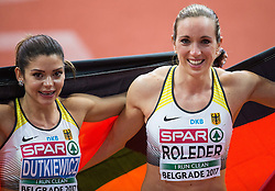 Winner Cindy Roleder of Germany (R) and third placed Pamela Dutkiewicz of Germany celebrate after the 60m Hurdles Women Final on day one of the 2017 European Athletics Indoor Championships at the Kombank Arena on March 3, 2017 in Belgrade, Serbia. Photo by Vid Ponikvar / Sportida