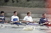 London. England, Old Blue left to right. . 3. Kingsley POOLE. 4, Cal MACLENNAN, 5. Jonny SEARLE, 6 Matt PINSENT. Oxford University BC, Pre Boat Race Fixture, Oxford University vs Old Blue's eight. River Thames, Putney.<br /> <br /> [Mandatory Credit;Peter SPURRIER/Intersport Images] 1990's Varsity Pre race Fixture. Oxford University BC vs Old Blues Eight.