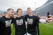 22-05-2016 VOETBAL: WILLEM II - NAC BREDA:TILBURG<br /> Promotie/degradatiewedstrijd<br /> Selfie van Dico Koppers van Willem II en Guus Hupperts van Willem II en Robbie Haemhouts van Willem II