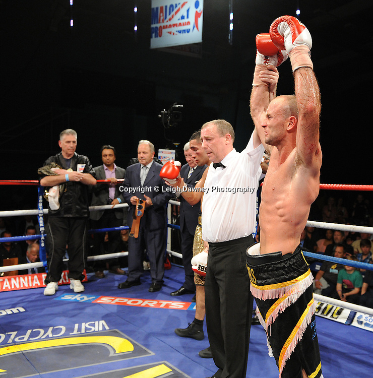 Ben Jones celebrates his win over Akaash Bhatia for the English Super Featherweight Title at Medway Park, Gillingham, Kent, UK on 13th May 2011. Frank Maloney Promotions. Photo credit © Leigh Dawney 2011.