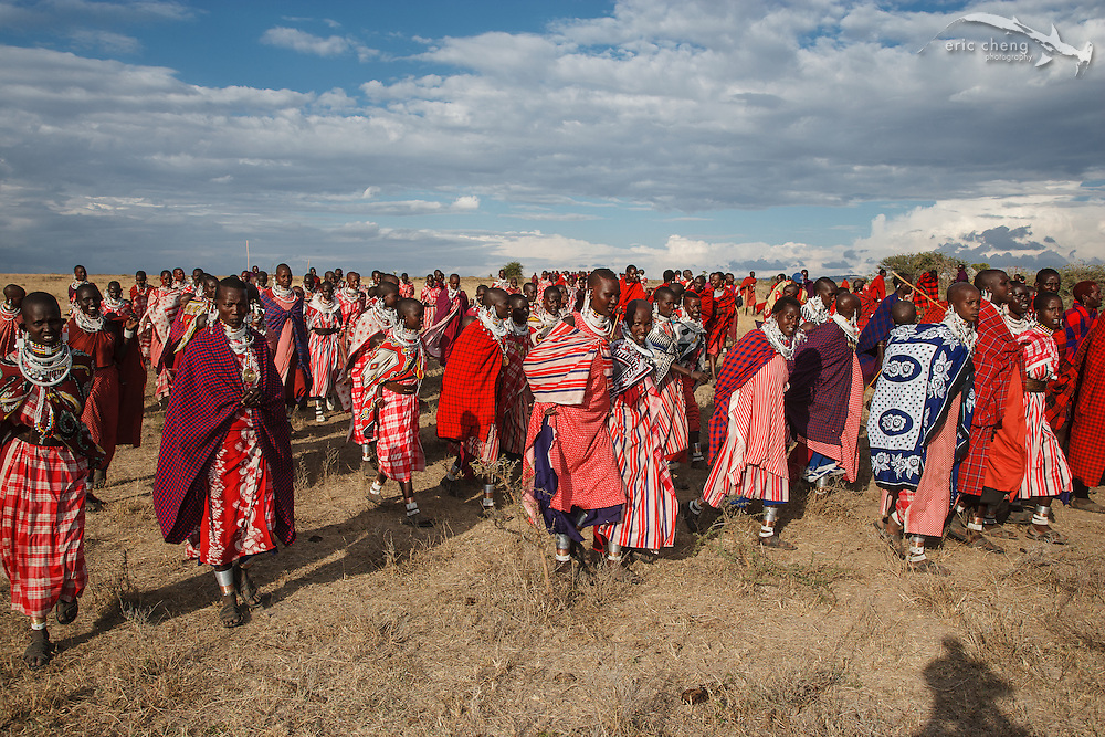 Celebrating at a manyatta, an extended Maasai party in which rites of passage are performed. Near Loliondo, Tanzania.