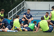 2nd row FRANCIS VAN DER MERWE (C) of French rugby union team, Racing 92 from Paris, stretching during training in Hong Kong. They are preparing ahead of their upcoming match against New Zealand's Super League team, The Highlanders