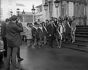 04/01/1969.01/04/1969.04 January 1969.Finalists of Miss/Ireland/Miss Europe Competition at the Mansion House, Dublin. Councillor Frank Cluskey, T.D., Lord Mayor of Dublin, greeting Miss Pat Byrne, Convent Road, Dalkey, Co. Dublin (Dublin finalist) and the other County finalists in the Miss Ireland Competition, when they visited the Mansion House, Dublin on Saturday.