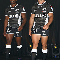 DURBAN, SOUTH AFRICA, December 3 2015 - Sibusiso Sithole with Paul Jordaan during The Cell C Sharks Official Launch and unveiling of The Cell C Sharks Super Rugby Jersey at Growthpoint Kings Park in Durban, South Africa. (Photo by Steve Haag)<br /> images for social media must have consent from Steve Haag