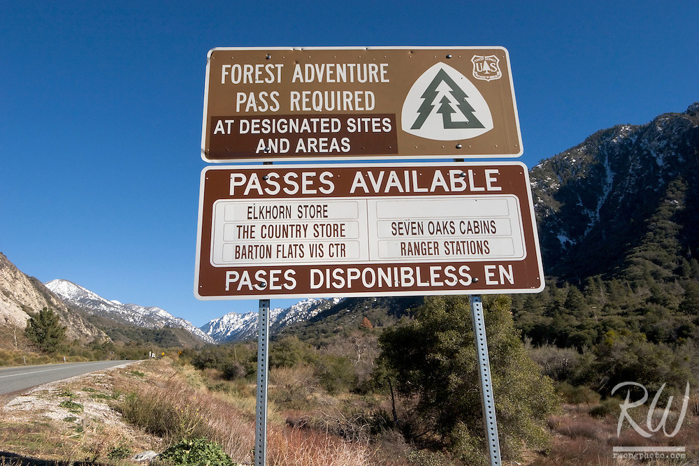 Forest Adventure Pass Required Road Sign Along Highway 38, San Bernardino National Forest, California