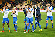Portsmouth players celebrate with the fans after the The FA Cup 3rd round match between Norwich City and Portsmouth at Carrow Road, Norwich, England on 5 January 2019.