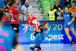 Elizabeth Omoregie of RK Krim Mercator during handball match between RK Krim Mercator (SLO) and HCM Baia Mare (ROM) in 1st Round of Women's EHF Champions League 2015/16, on October 16, 2015 in Arena Stozice, Ljubljana, Slovenia. Photo by Urban Urbanc / Sportida
