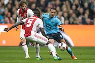 02-10-2016: Voetbal: Ajax v FC Utrecht: Amsterdam<br /> <br /> (L-R) Ajax speler Davinson Sanchez, FC Utrecht speler Sofyan Amrabat tijdens het Eredivsie duel tussen Ajax en FC Utrecht op 2 oktober 2016 in stadion Arena in Amsterdam tijdens speelronde 8<br /> <br /> Eredivisie - Seizoen 2016 / 2017<br /> <br /> Foto: Gertjan Kooij