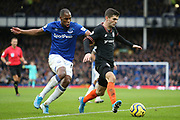 Chelsea midfielder Christian Pulisic (22) and Everton defender Djibril Sidibe (19)  during the Premier League match between Everton and Chelsea at Goodison Park, Liverpool, England on 7 December 2019.