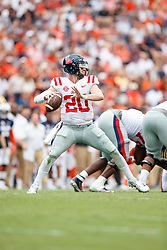 Mississippi Rebels quarterback Shea Patterson (20) attempts a pass during an NCAA football game against the Auburn Tigers, Saturday, October 7, 2017, in Auburn, AL. Auburn won 44-23. (Paul Abell via Abell Images for Chick-fil-A Peach Bowl)