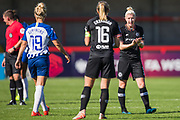 Bethany England (Chelsea) talking with Magdalena Eriksson (Capt)(Chelsea) during the FA Women's Super League match between Brighton and Hove Albion Women and Chelsea at The People's Pension Stadium, Crawley, England on 15 September 2019.