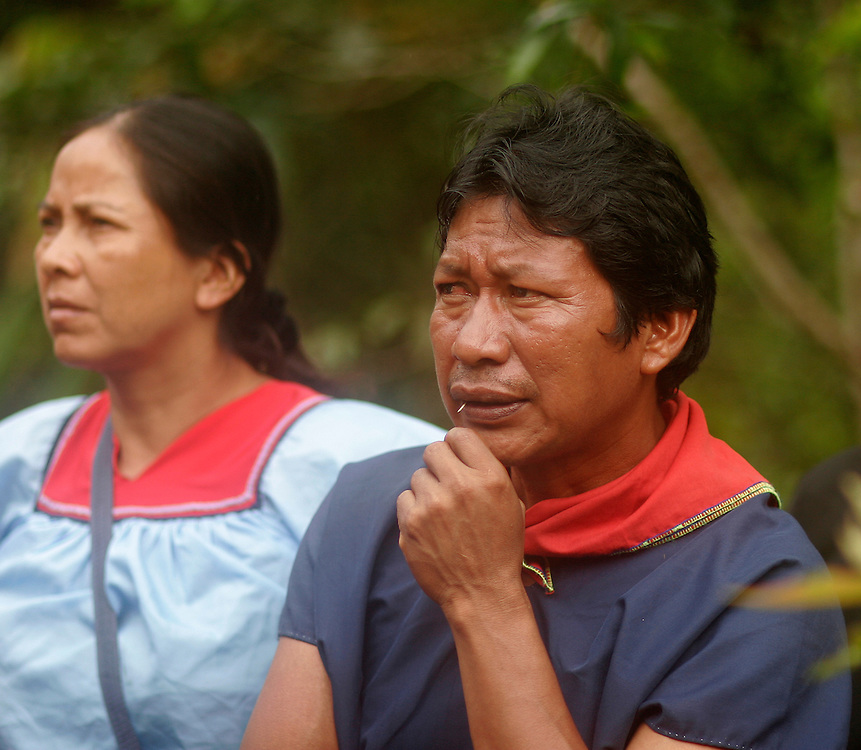 Cofan villagers attend an oil well drilling site on a field visit by the Ecuadorian Judge presiding over the long running environmental lawsuit against Chevron-Texaco.