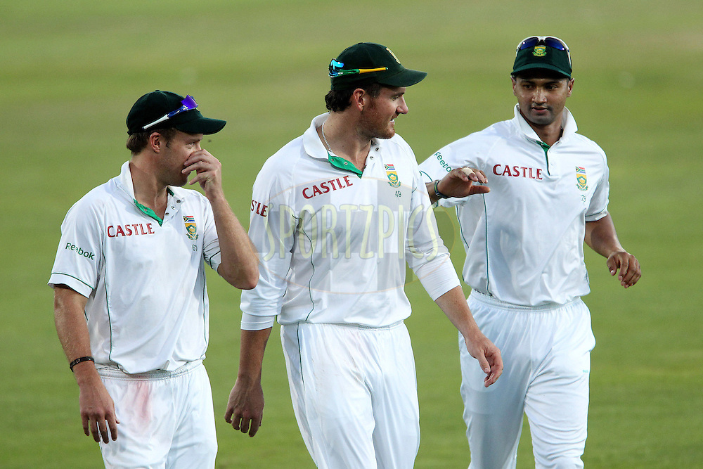 AB de Villiers of South Africa,Graeme Smith of South Africa  and Alviro Petersen  of South Africa  during day 1 of the first ( 1st ) Test Match between South Africa and India held at Supersport Park in Centurion, Gauteng, South Africa on the 16th December 2010..Photo by Ron Gaunt/BCCI/SPORTZPICS