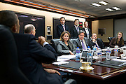 02.APRIL.2013. WASHINGTON D.C.<br /> <br /> PRESIDENT BARACK OBAMA ATTENDS A MEETING IN THE SITUATION ROOM OF THE WHITE HOUSE, APRIL 2, 2013. SEATED, FROM LEFT, ARE: NATIONAL SECURITY ADVISOR TOM DONILON; LISA MONACO, DEPUTY NATIONAL SECURITY ADVISOR FOR HOMELAND SECURITY AND COUNTERTERRORISM; TONY BLINKEN, DEPUTY NATIONAL SECURITY ADVISOR; BEN RHODES, DEPUTY NATIONAL SECURITY ADVISOR FOR STRATEGIC COMMUNICATIONS; AND AVRIL HAINES, DEPUTY COUNSEL TO THE PRESIDENT. STANDING, FROM LEFT, ARE: BRETT HOLMGREN, NSS DIRECTOR FOR COUNTERTERRORISM; CHRIS FONZONE, SPECIAL ASSISTANT AND ASSOCIATE COUNSEL TO THE PRESIDENT; AND BRAD SMITH, DEPUTY LEGAL ADVISOR.<br /> <br /> BYLINE: EDBIMAGEARCHIVE.CO.UK<br /> <br /> *THIS IMAGE IS STRICTLY FOR UK NEWSPAPERS AND MAGAZINES ONLY*<br /> *FOR WORLD WIDE SALES AND WEB USE PLEASE CONTACT EDBIMAGEARCHIVE - 0208 954 5968*