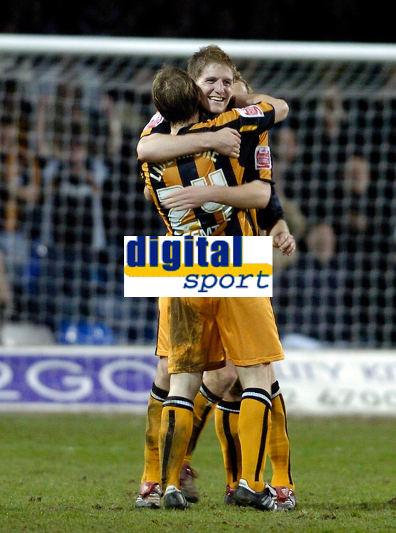 Photo: Leigh Quinnell.<br /> Luton Town v Hull City. Coca Cola Championship. 13/03/2007. Michael Turner celebrates his goal for Hull with team mate David Livermore.