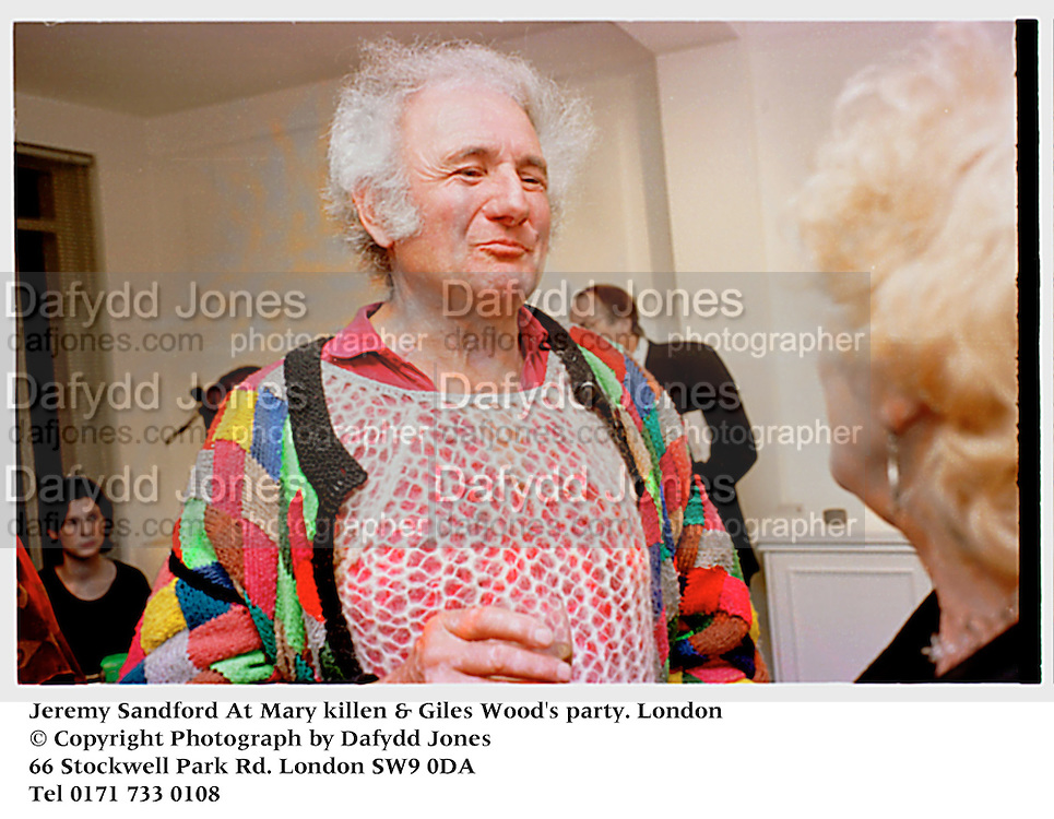 Jeremy Sandford At Mary killen & Giles Wood's party. London<br />© Copyright Photograph by Dafydd Jones<br />66 Stockwell Park Rd. London SW9 0DA<br />Tel 0171 733 0108