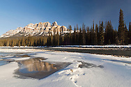 Castle Mountain and Bow River in winter, Banff National Park, Alberta, Canada