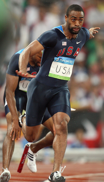 2008 Beijing Olympic Games- Day 7 - Evening- August 21st, 2008 *** Tyson Gay, USA, 4x100m realy *** Day 7