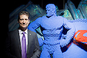 THE ART OF THE BRICK: DC SUPER HEROES <br /> designed by Nathan Sawaya <br /> South Bank, London, Great Britain <br /> 28th February 2017 <br /> <br /> London debut opens on 1st March 2017<br /> <br /> <br /> Nathan Sawaya with his Superman <br /> Artist <br /> <br /> Together with Warner Bros. and DC Entertainment, Nathan Sawaya has created the world&rsquo;s largest collection of artwork inspired by DC's Justice League, including Batman, Superman, Wonder Woman, alongside DC Super-Villains the Joker, Harley Quinn and more.<br />  <br /> <br />  <br /> THE ART OF THE BRICK: DC SUPER HEROES exhibition includes more than 120 original pieces, created exclusively from LEGO bricks, including a life-size Batmobile (5.5 meters) and built from half a million standard pieces. Sawaya has captured on a real scale some of the most iconic Super Heroes and Super-Villains from DC, exploring more than 80 years of history.<br /> <br /> <br /> <br /> Photograph by Elliott Franks <br /> Image licensed to Elliott Franks Photography Services