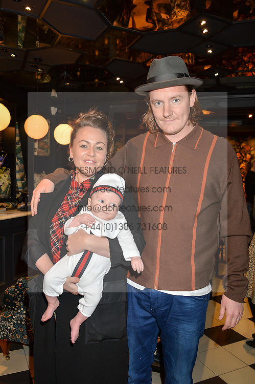 JAIME WINSTONE and JAMES SUCKLING with their 8 week old son RAYMOND at the launch of the House of Hackney La Coqueta childrens' fashion collectection held at House of Hackney, 131 Shoreditch High Street, London on 23rd April 2016.