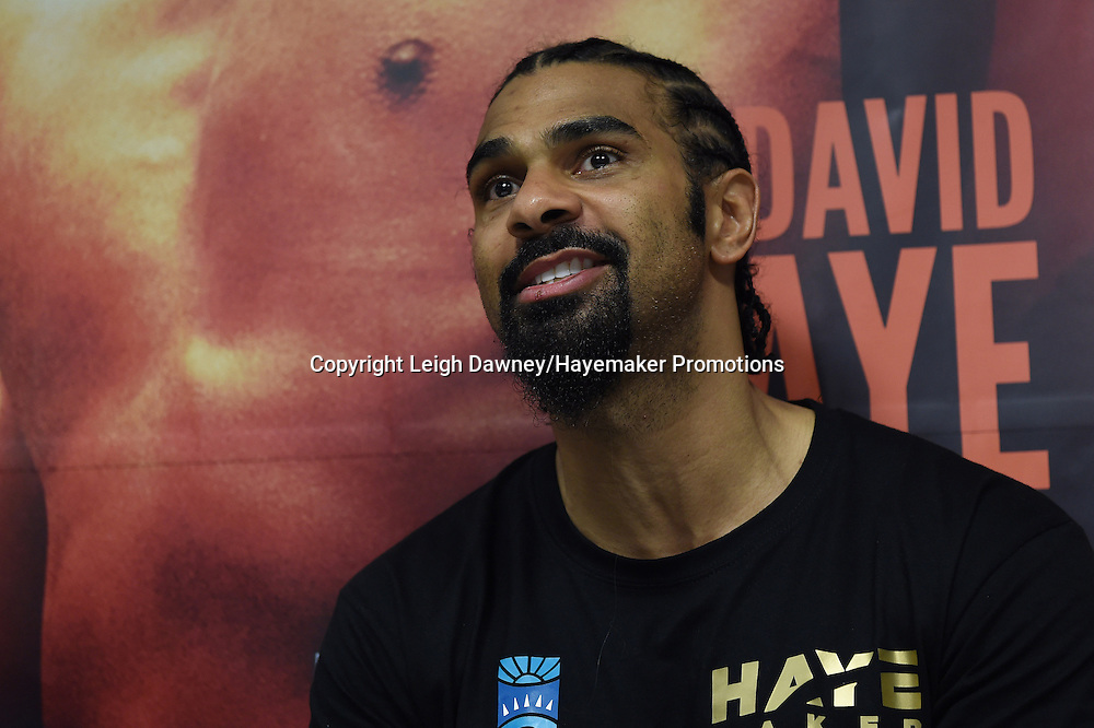 David Haye speaks during a post fight press conference after defeating Arnold Gjergjaj in a heavyweight contest at the 02 Arena, London on the 21st May 2016. Photo credit: Leigh Dawney/Hayemaker Promotions