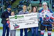 KELOWNA, CANADA - FEBRUARY 17:  Save on foods presentation to Liam Kindree #26 of the Kelowna Rockets at the Kelowna Rockets game on February 17, 2018 at Prospera Place in Kelowna, British Columbia, Canada.  (Photo By Cindy Rogers/Nyasa Photography,  *** Local Caption ***