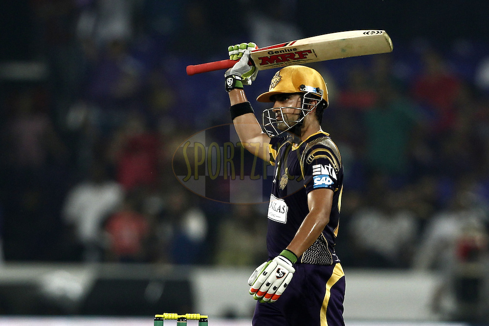 Gautam Gambhir captain of the Kolkata Knight Riders celebrates his fifty against LAHORE LIONS during match 7 of the Oppo Champions League Twenty20 between the Kolkata Knight Riders and the Lahore Lions held at the Rajiv Gandhi Cricket Stadium, Hyderabad, India on the 21st September 2014<br /> <br /> Photo by:  Deepak Malik / Sportzpics/ CLT20<br /> <br /> <br /> Image use is subject to the terms and conditions as laid out by the BCCI/ CLT20.  The terms and conditions can be downloaded here:<br /> <br /> http://sportzpics.photoshelter.com/gallery/CLT20-Image-Terms-and-Conditions-2014/G0000IfNJn535VPU/C0000QhhKadWcjYs
