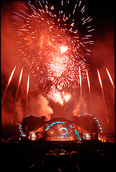 Fireworks Finale after the Encores. Grateful Dead Live at Soldiers Field Chicago. The last show ever performed by the band, July 9, 1995. Stage lighting and set design by Candace Brightman. Photographed from the lighting booth for Ms. Brightman and Grateful Dead Productions.