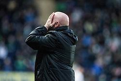 Falkirk's manager Peter Houston.<br /> haft time ; Falkirk 0 v 0 Hibernian, Scottish Championship game played 6/12/2014 at The Falkirk Stadium .
