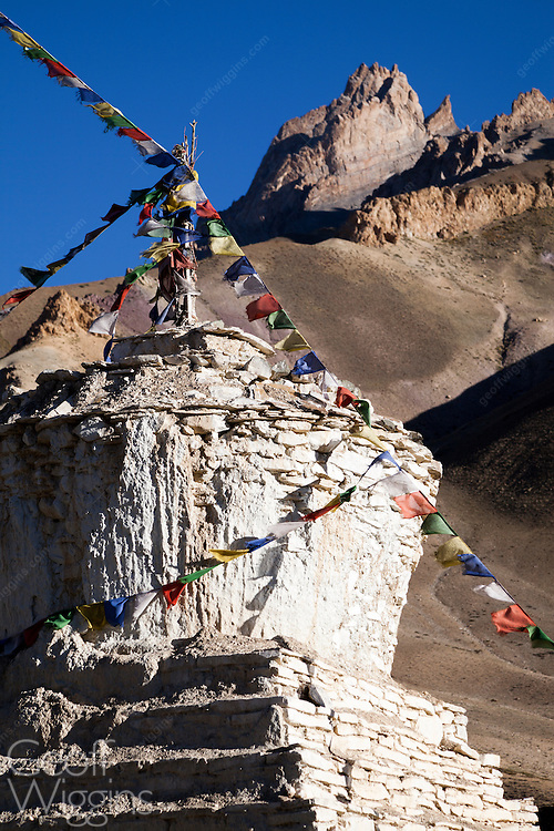 Buddhist Stupas near Lamayuru, site of one of the largest and oldest gompas in Ladakh, Northern India