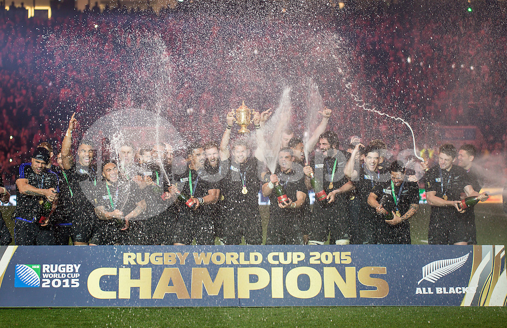 Richie McCaw captain of New Zealand raises the World Cup as the All Blacks celebrate their victory during the Rugby World Cup Final match between New Zealand and Australia played at Twickenham Stadium, London on the 31st of October 2015. Photo by Liam McAvoy