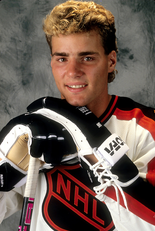 TORONTO, CANADA - 1991:  NHL star Eric Lindros poses for a portrait prior to the NHL draft.  (Photo by Ron Vesely)