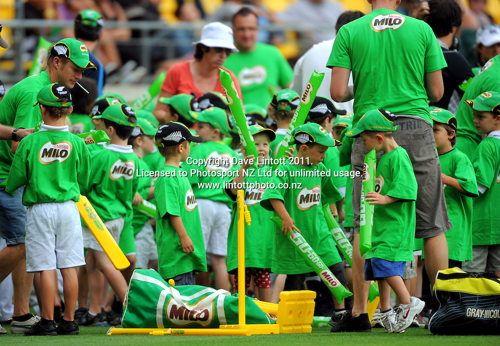 Milo kids play on the pitch at tea. First one-day international cricket match - New Zealand v Pakistan at Westpac Stadium, Wellington, New Zealand on Saturday, 22 January 2011. Photo: Dave Lintott / photosport.co.nz