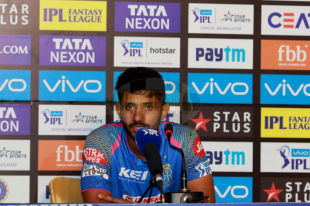 Rahul Tripathi of RR at the press conference during match six of the Vivo Indian Premier League 2018 (IPL 2018) between the Rajasthan Royals and the Delhi Daredevils held at the The Sawai Mansingh Stadium in Jaipur on the 11th April 2018.<br /> <br /> Photo by: Rahul Gulati  SPORTZPICS