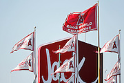 ANAHEIM, CA - JUNE 06:  Champion flags fly at the Los Angeles Angels of Anaheim game against the Seattle Mariners on Wednesday, June 6, 2012 at Angel Stadium in Anaheim, California. The Mariners won the game 8-6. (Photo by Paul Spinelli/MLB Photos via Getty Images)