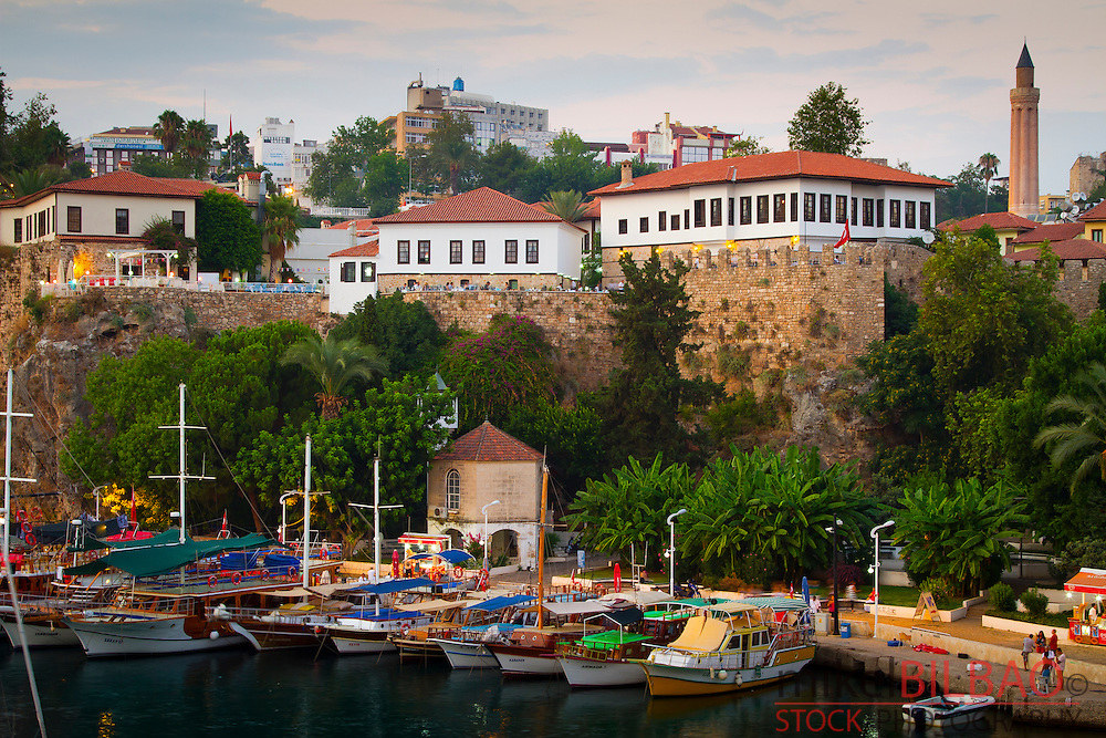 Harbour and boats. Kaleici. Antalya city.  Antalya province. Mediterranean coast. Turkey.