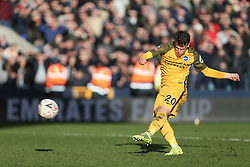 Solly March of Brighton and Hove Albion scores with his penalty kick - Mandatory by-line: Arron Gent/JMP - 17/03/2019 - FOOTBALL - The Den - London, England - Millwall v Brighton and Hove Albion - Emirates FA Cup Quarter Final