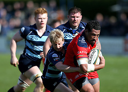 Anthony Perenise replacement for Bristol Rugby is tackled by Pete White replacement for Bedford Blues - Mandatory by-line: Robbie Stephenson/JMP - 23/04/2016 - RUGBY - Goldrington Road - Bedford, England - Bedford Blues v Bristol Rugby - Greene King IPA Championship