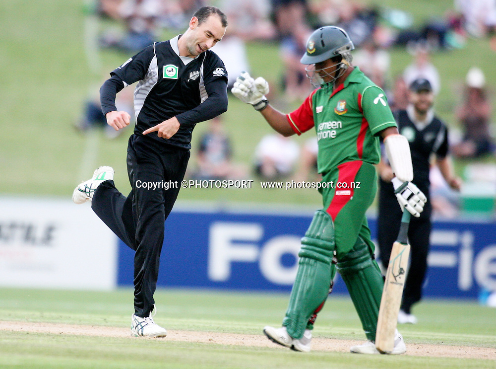 Andy Mckay celebrates his second wicket. New Zealand Black Caps v Bangladesh. 1st ODI. McLean Park, Napier. Friday 05 February 2010  Photo: John Cowpland/PHOTOSPORT