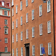 Colorful building facades in Gamla Stan, Stockholm, Sweden