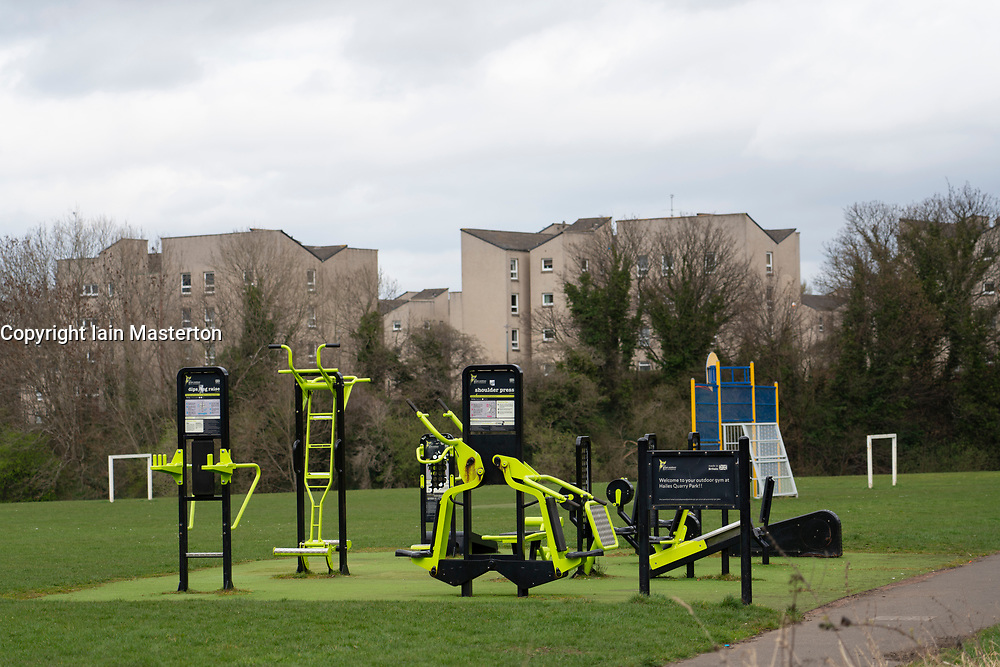 Outdoor gym at Hailes Quarry Park, Wester Hailes, Edinburgh, Scotland, UK