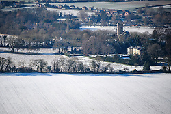 © Licensed to London News Pictures. 30/01/2019. Butlers Cross, UK.  A snow covered landscape, seen from Coombe Hill in Butlers Cross, Buckinghamshire, as snow hits the south east of England. Photo credit: Ben Cawthra/LNP
