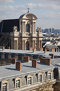 France. Paris. 4th district. elevated view.  Saint Gervais, Saint Protee church and hotel de Ville. view from  the bazar de l'hotel de ville