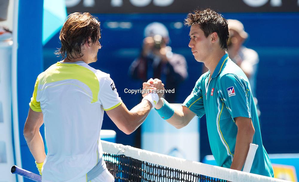 20.01.2013. Melbourne, Australia.  ATP Tennis men World Tour Grand Slam Australian Open Picture Picture shows David Ferrer ESP and Kei Nishikori JPN