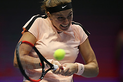 February 3, 2018 - Saint Petersburg, Russia - Petra Kvitova of Czech Republic returns the ball to Julia Goerges of Germany during the St. Petersburg Ladies Trophy ATP tennis tournament semi final match in St. Petersburg  (Credit Image: © Igor Russak/NurPhoto via ZUMA Press)