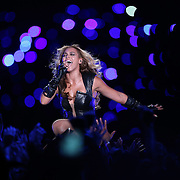 Recording artist Beyonce performs at halftime of Super Bowl XLVII between the Baltimore Ravens and the San Francisco 49ers at the Mercedes-Benz Superdome in New Orleans, Louisiana on Sunday, February 3, 2013.(AP Photo/Ben Liebenberg)