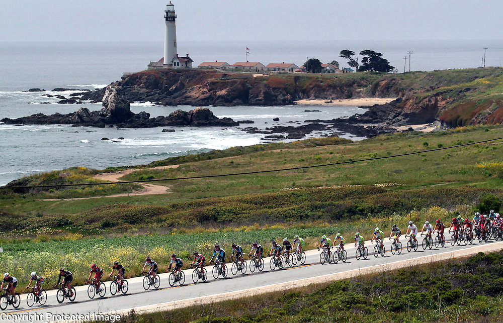 The Stage 2 Peloton passes the Pigeon Point Lighthouse on the San Mateo County coast on Monday May 14.<br /> Photo by Shmuel Thaler/Santa Cruz Sentinel