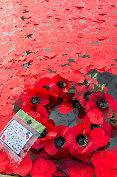 A remembrance event in Trafalgar Square included a two minute silence and poppies being placed in the fountains.