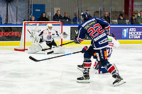 2020-01-22   Kallinge, Sweden: Krif hockey (22) Sebastian Magnusson try to shoot during the game between Krif hockey and Halmstad Hammers at Soft Center Arena (Photo by: Jonathan Persson   Swe Press Photo)<br /> <br /> Keywords: kallinge, Ishockey, Icehockey, hockeyettan, allettan södra, soft center arena, krif hockey, halmstad hammers (Match code: krhh200122)